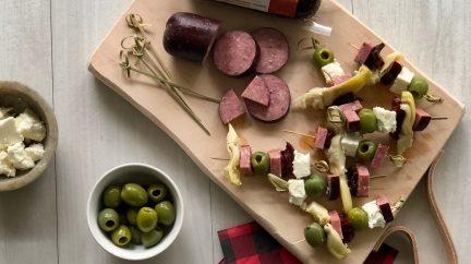 Summer Sausage Mediterranean Skewers